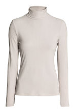 Ribbed polo-neck top - Light grey - Ladies | H&M 1
